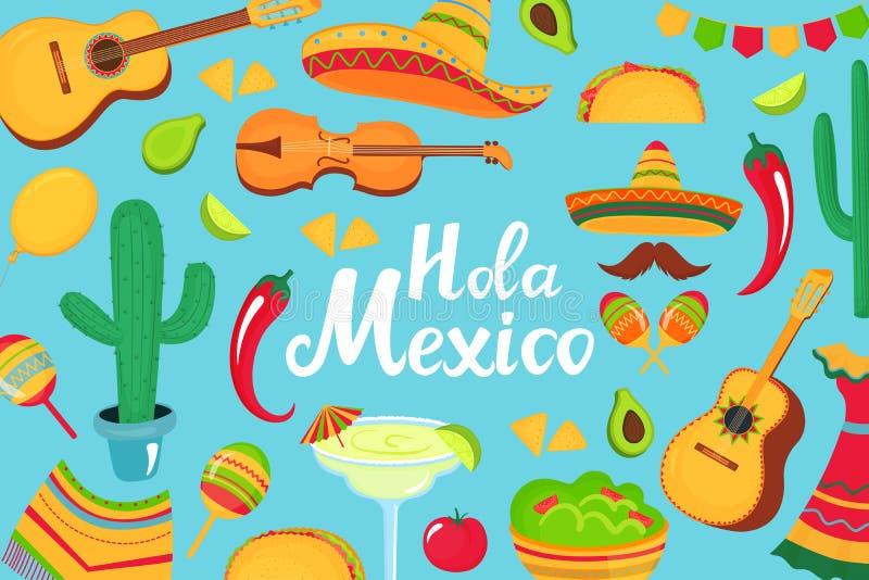 Hola Meksyk ręka rysujący literowanie dekoracyjny plakat, sztandar, ulotka, kartka z pozdrowieniami, reklamuje dla krajowego Meks ilustracji