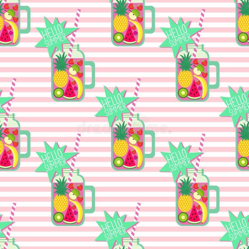 Hola modelo inconsútil del verano Smoothie y frutas frescos en fondo pelado ilustración del vector