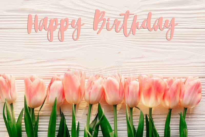 Hola muestra del texto de la primavera, tulipanes rosados hermosos en el wo rústico blanco libre illustration