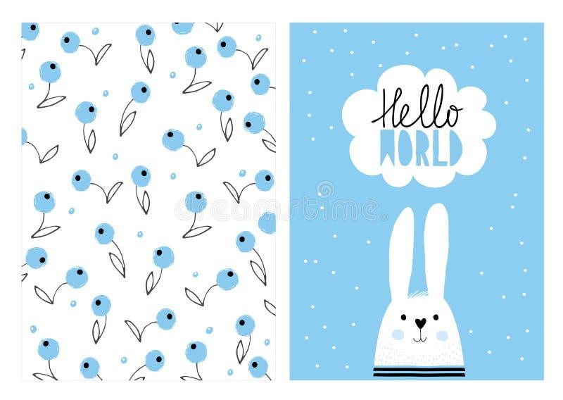 Hola mundo, conejo lindo blanco Sistema dibujado mano del ejemplo del vector de la fiesta de bienvenida al bebé ilustración del vector
