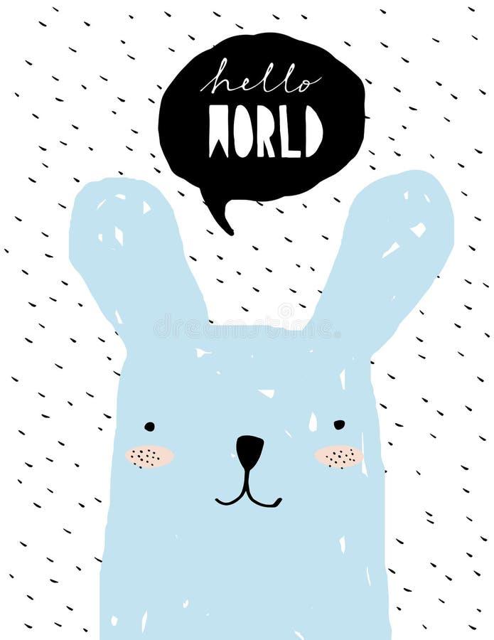 Hola mundo - ejemplo divertido del vector de la fiesta de bienvenida al bebé Decoración preciosa del sitio para el bebé libre illustration