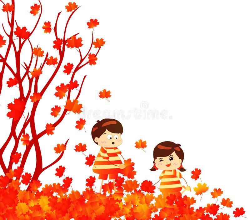 Hola niños divertidos del otoño de un bosque en otoño con caer de las hojas ilustración del vector