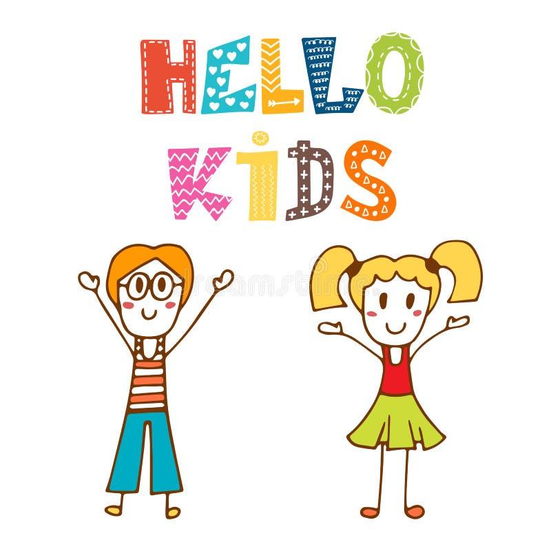 Hola niños Niños felices dibujados mano stock de ilustración