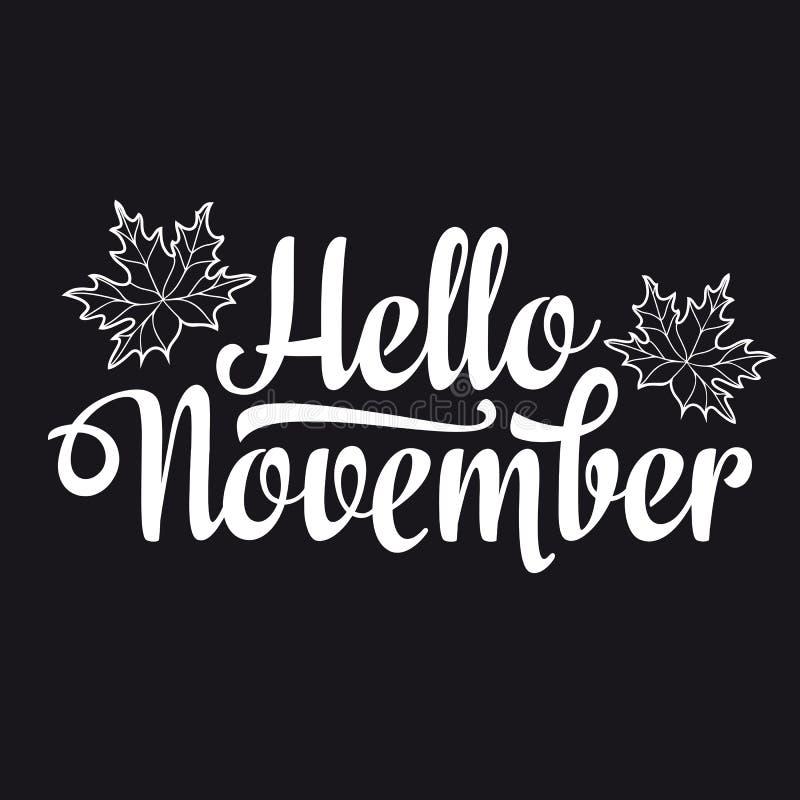 Hola noviembre aviador de la composición de las letras o plantilla de la bandera Venta del texto stock de ilustración