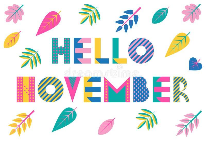 Hola noviembre Fuente geométrica de moda en el estilo de Memphis de 80s-90s Fondo del vector con las hojas de otoño coloridas stock de ilustración