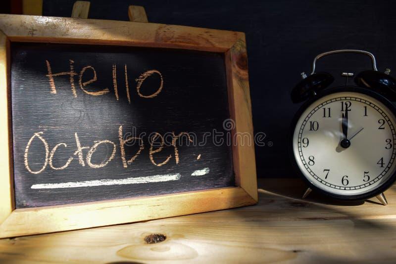 hola octubre De nuevo a concepto de la escuela imagen de archivo libre de regalías