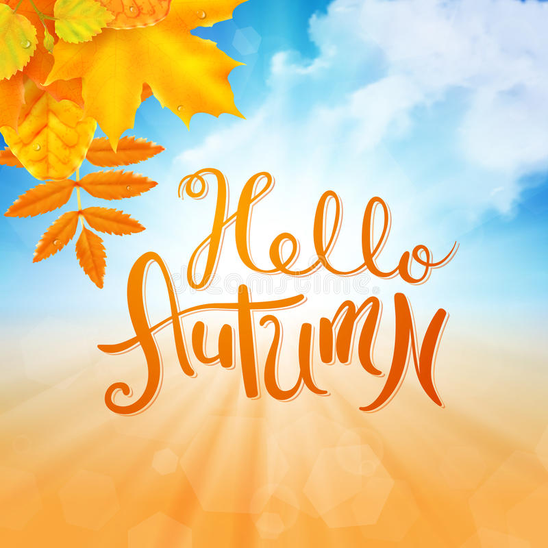 Hola otoño ilustración del vector