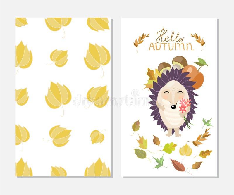 Hola otoño Tarjeta elegante de la inspiración en estilo lindo con el erizo de la historieta Plantilla para el diseño de la impres stock de ilustración