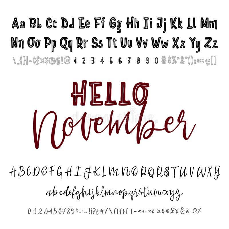 Hola palabra de noviembre Sistema dibujado mano de la tipografía aislado en blanco Fuente del logotipo del vector Alfabeto de la  ilustración del vector
