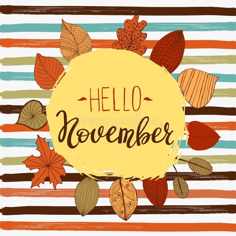 Hola plantilla del aviador del otoño de noviembre con las letras Hojas brillantes de la caída Cartel, tarjeta, etiqueta, diseño d libre illustration