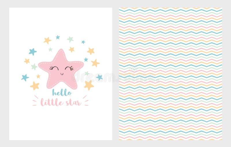 Hola poco sistema del ejemplo del vector de la estrella Diseño dibujado mano Estrella rosada sonriente Ducha de bebé stock de ilustración