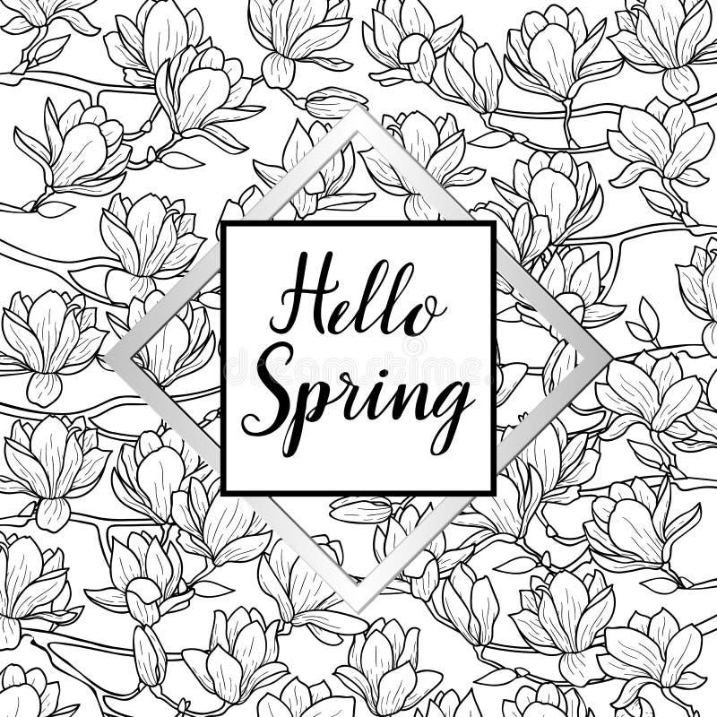 Hola primavera con la postal de la magnolia ilustración del vector