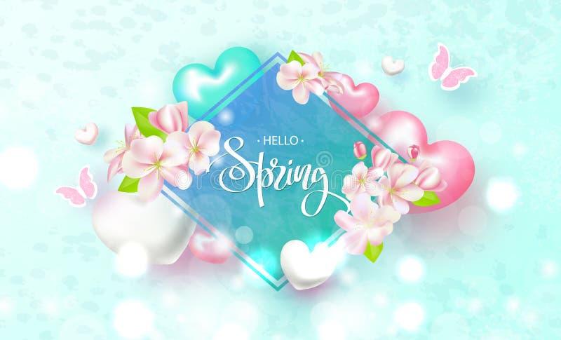 Hola primavera Fondo hermoso con las flores, los corazones y las mariposas Ilustración del vector ilustración del vector