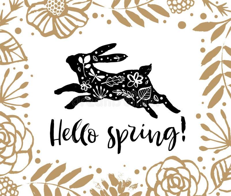 Hola primavera Silueta corriente de un conejo en el marco de la flor libre illustration