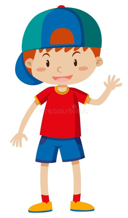 Hola que agita del muchacho feliz ilustración del vector