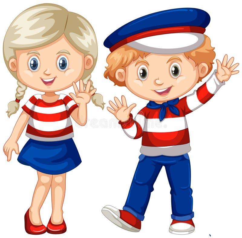 Hola que agita del muchacho y de la muchacha stock de ilustración