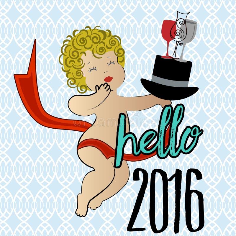 Hola saludo del Año Nuevo 2016 ilustración del vector