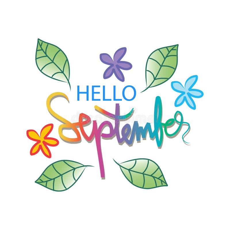 Hola septiembre stock de ilustración