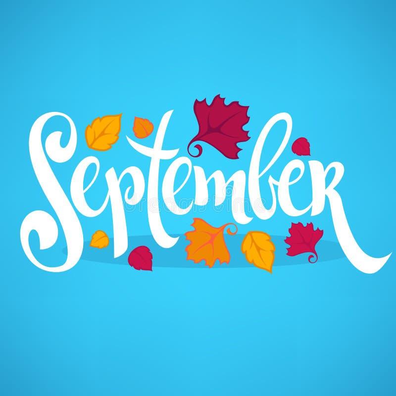 Hola septiembre, hojas brillantes de la caída y letras ilustración del vector