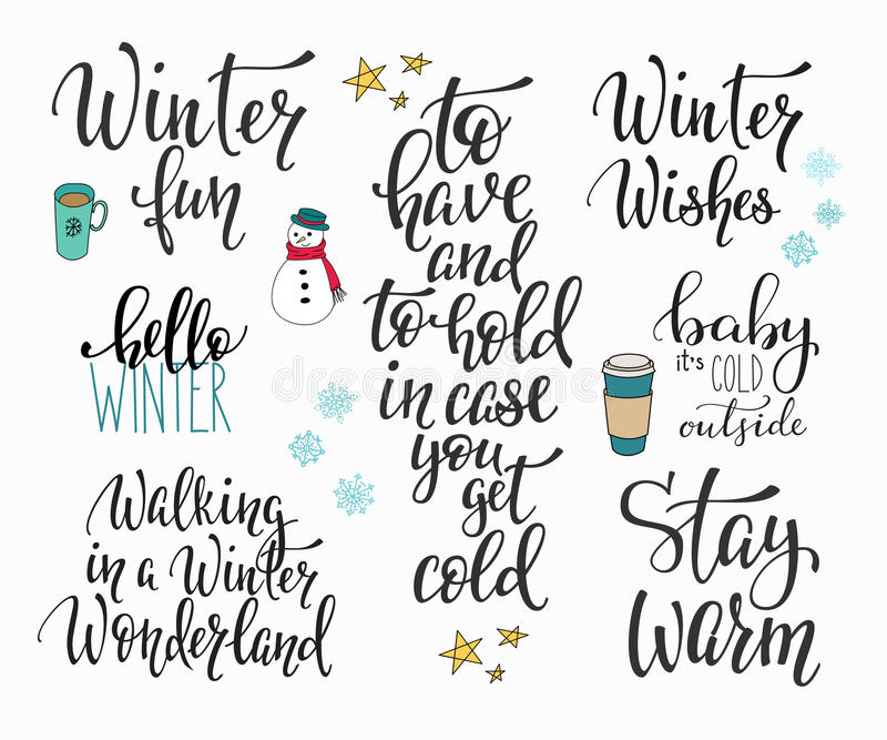 Hola sistema de la tipografía de la estación del invierno stock de ilustración