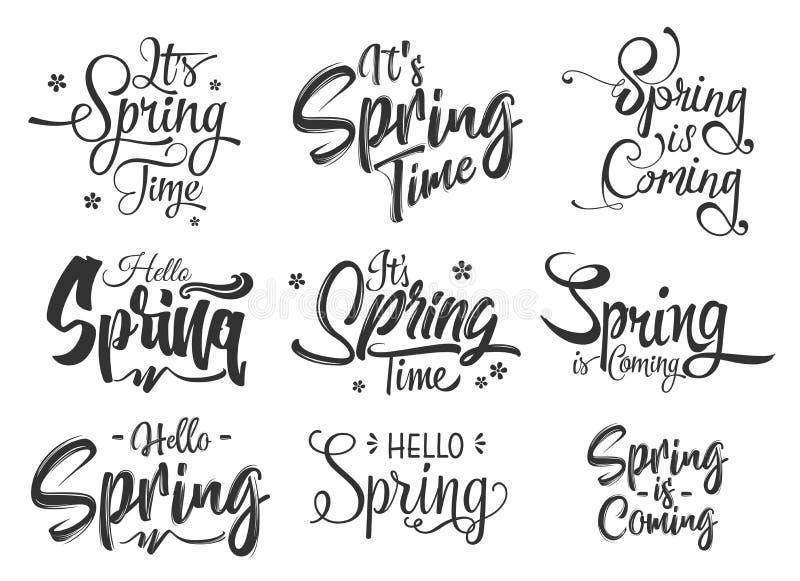 Hola sistema de las letras de la mano de la primavera stock de ilustración