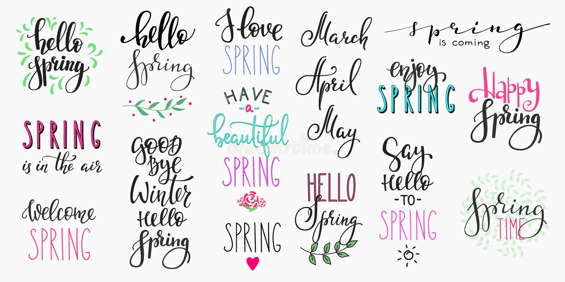Hola sistema grande de la tipografía de las letras de la primavera stock de ilustración