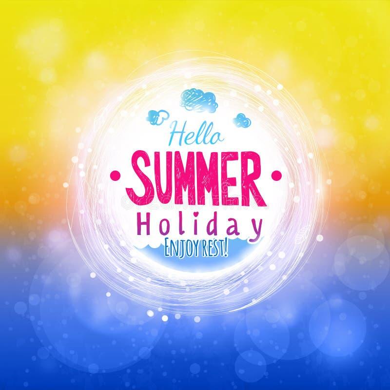 Hola sol del verano y tarjeta de dibujo calientes del mar ilustración del vector
