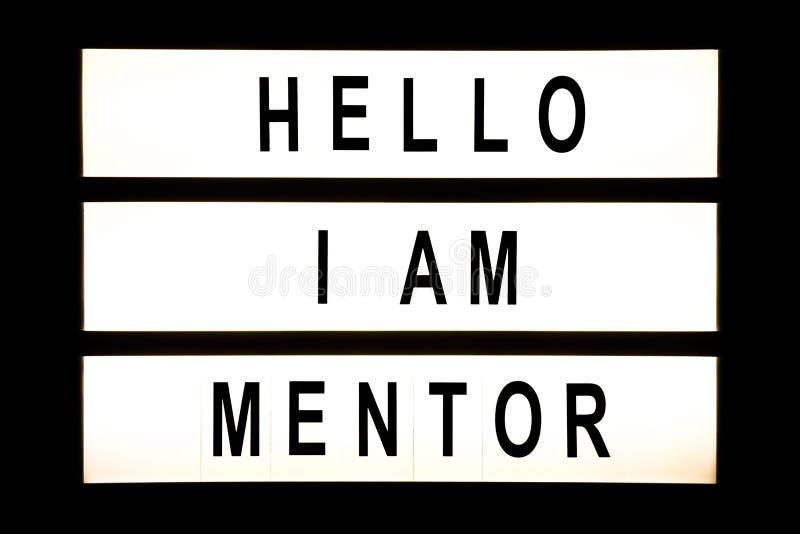 Hola soy caja de luz de la ejecución del mentor foto de archivo libre de regalías