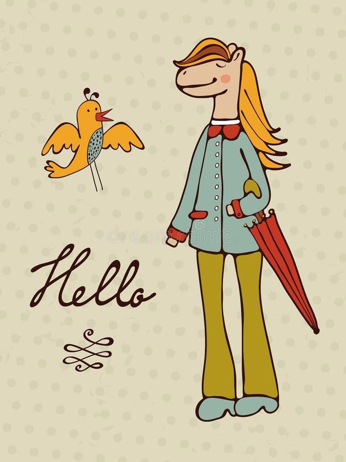 Hola tarjeta con el carácter dibujado mano del caballo y un pájaro stock de ilustración