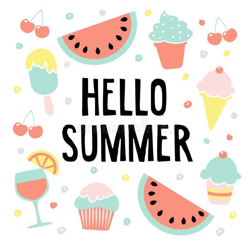 Hola tarjeta de felicitación del verano con la sandía, el helado, las cerezas y la bebida, ejemplo libre illustration