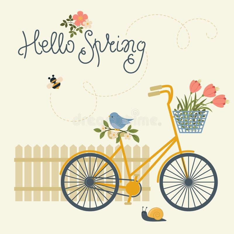 Hola tarjeta de la primavera ilustración del vector