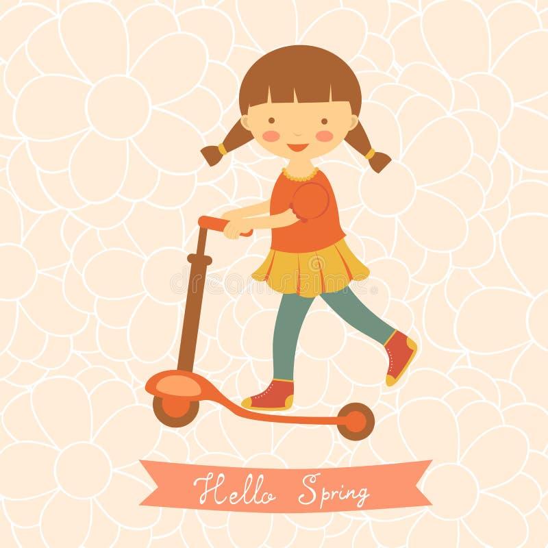 Hola tarjeta de la primavera con la niña linda libre illustration
