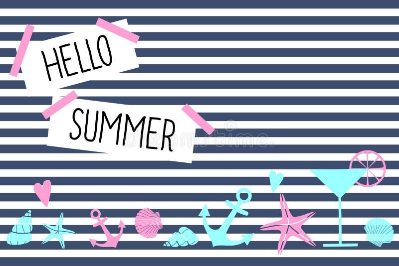 Hola tarjeta de verano Diseño náutico lindo stock de ilustración