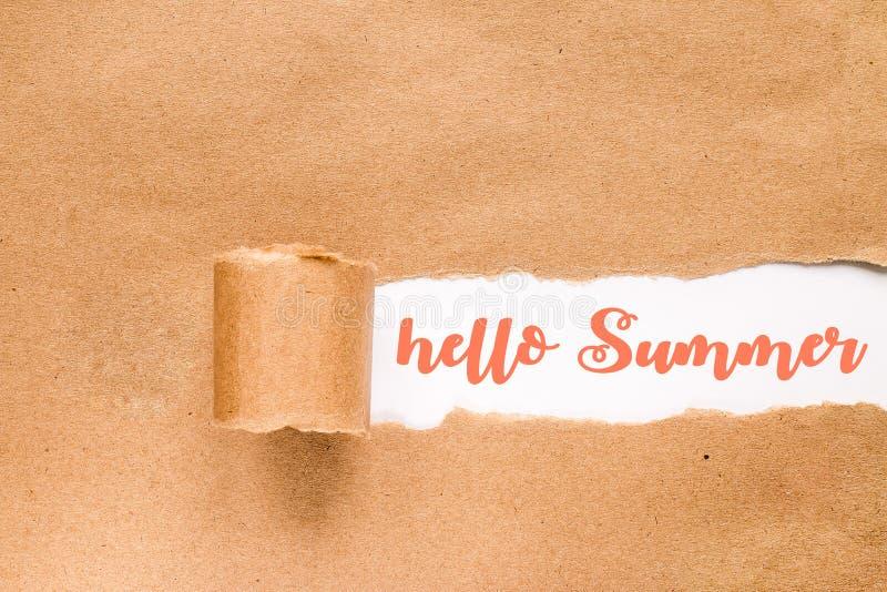 Hola tarjeta de verano Inscripci?n en sobre rasgado fotografía de archivo