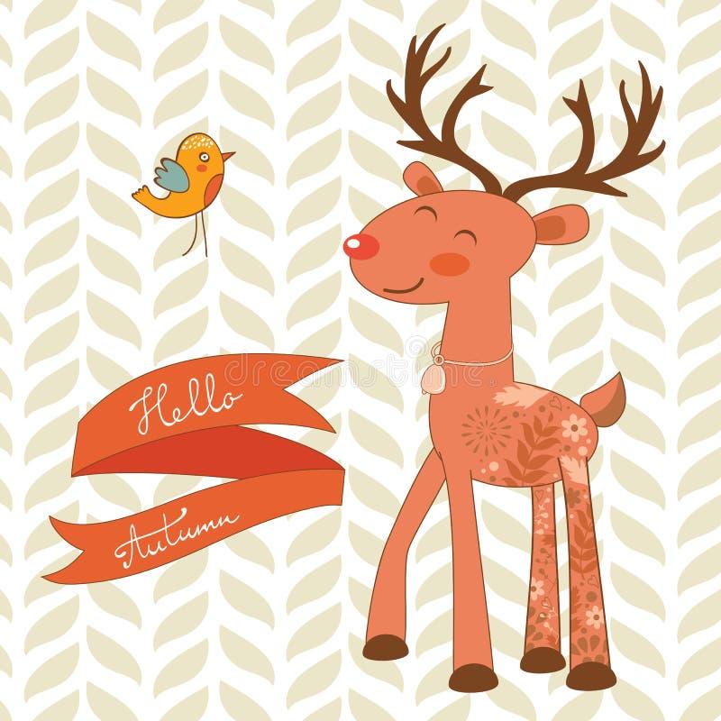 Hola tarjeta del concepto del otoño con los ciervos lindos ilustración del vector