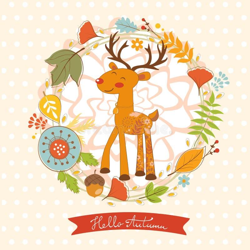 Hola tarjeta del concepto del otoño con los ciervos lindos libre illustration
