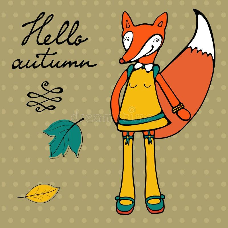 Hola tarjeta elegante del otoño con el carácter lindo del zorro stock de ilustración