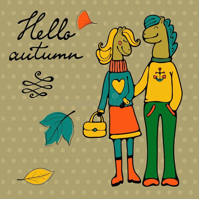 Hola tarjeta elegante del otoño con los caracteres lindos de los pares del caballo stock de ilustración