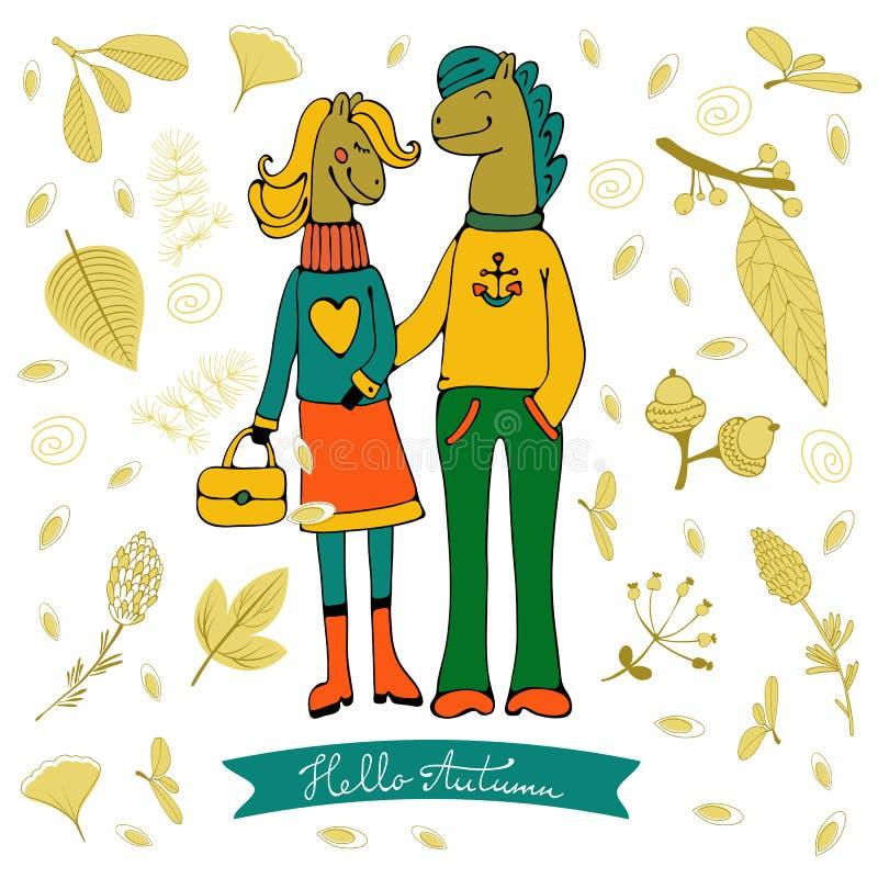 Hola tarjeta elegante del otoño con los caracteres lindos de los pares del caballo Ilustración del vector stock de ilustración