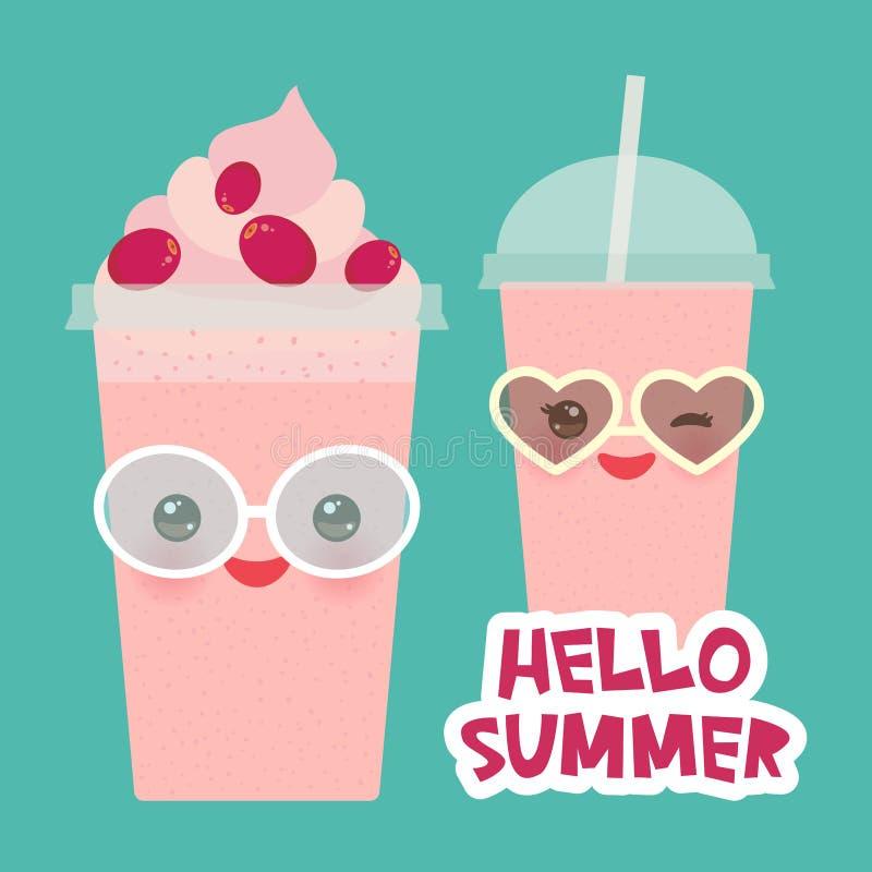 Hola taza plástica transparente del smoothie para llevar del arándano de la fresa del verano con la paja y la crema azotada Cara  libre illustration