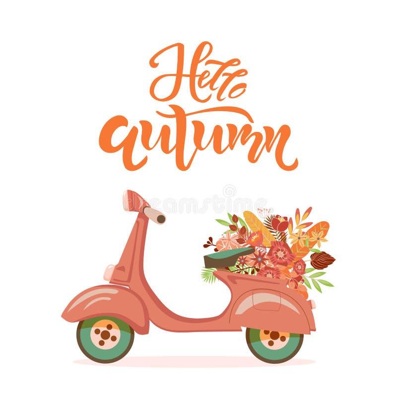 Hola texto de la cita de la estación del otoño Vespa retra con el ramo de la flor en fondo Poner letras a la plantilla de la tipo libre illustration