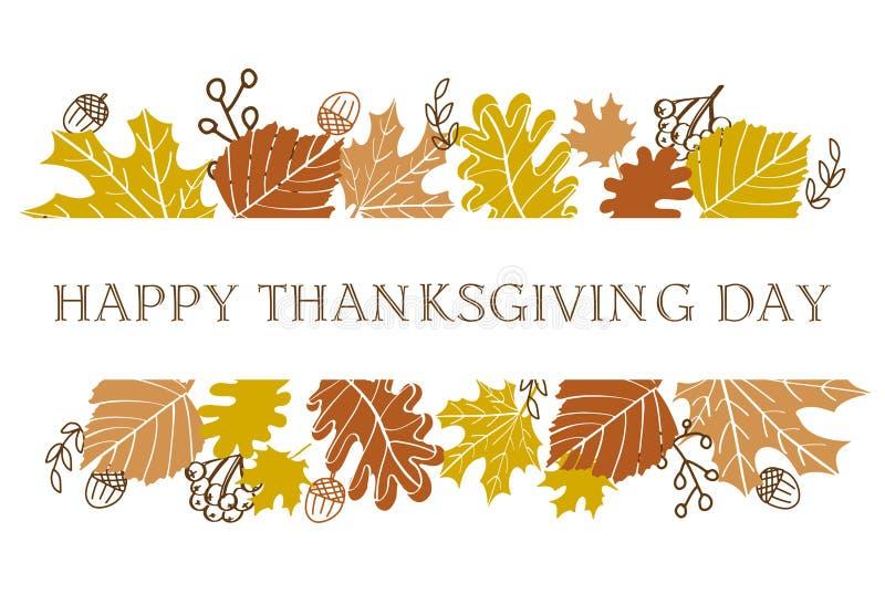 Hola texto de las letras del otoño con las hojas de otoño y las bellotas Ilustración drenada mano del vector Fondo negro y texto  libre illustration