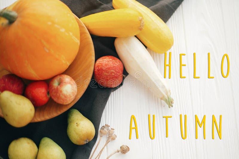 Hola texto del otoño, concepto de la tarjeta de felicitación de las estaciones Caída agradable s fotos de archivo libres de regalías