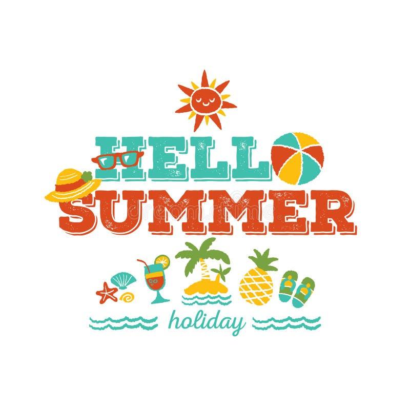 Hola vacaciones de verano ilustración del vector
