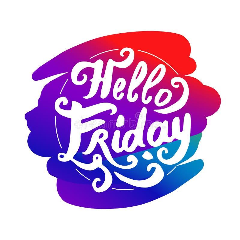 Hola vector colorido del ejemplo del logotipo de viernes que pone letras stock de ilustración