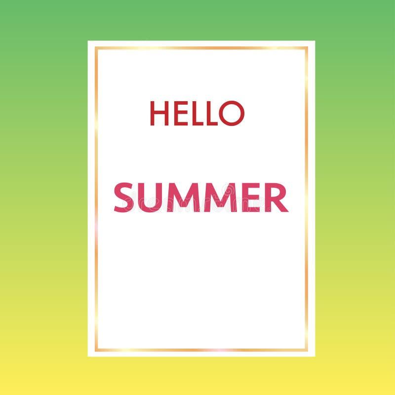 hola verano con el fondo colorido del marco de oro stock de ilustración