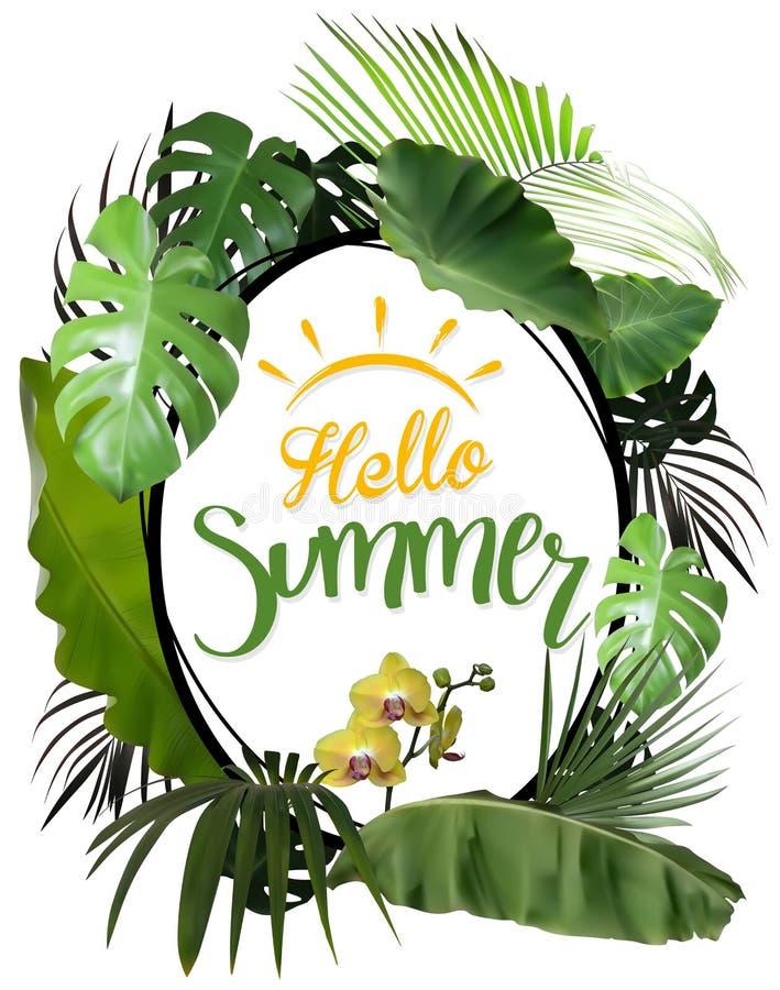 Hola verano con el marco oval y las plantas tropicales ilustración del vector