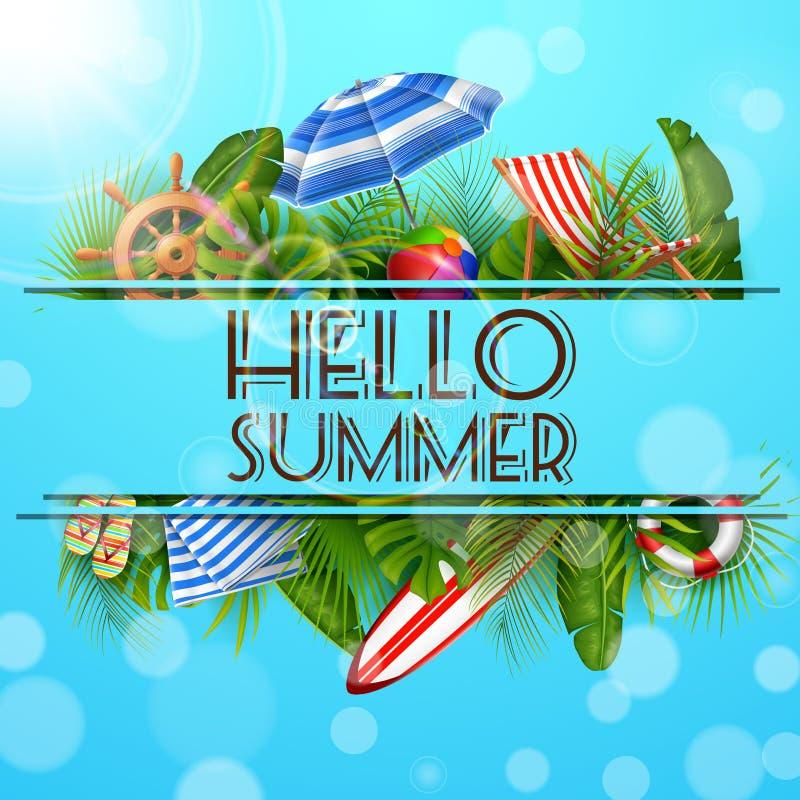 Hola verano con las hojas tropicales en agujero bandera, fondo del verano del cartel libre illustration