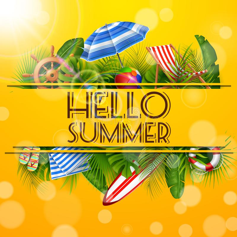 Hola verano con las hojas tropicales en agujero bandera, fondo del verano del cartel stock de ilustración