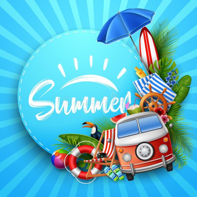 Hola verano con las hojas tropicales, papel redondo, bandera, cartel, en fondo rayado del verano stock de ilustración